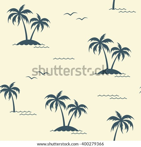 Seamless pattern with palm trees and seagulls