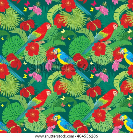 Seamless pattern with palm trees leaves, Frangipani flowers and Blue Yellow and Red Blue Macaw parrots. Element for summer, travel and vacation design. - stock vector