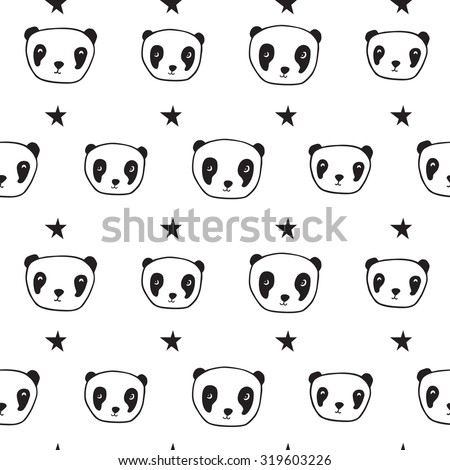 Seamless pattern with pandas and stars. Wrapping paper, cloth. Sketch, doodles, design elements. Hand drawing. Black and white. Vector.