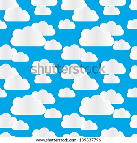 Seamless pattern with paper clouds with realistic shadows. On blue background.