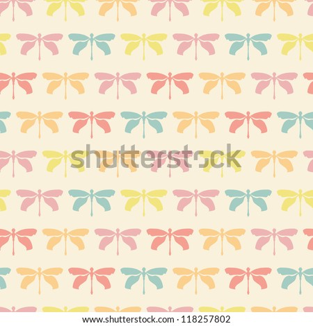 Seamless pattern with pastel dragonflies. Vector illustration