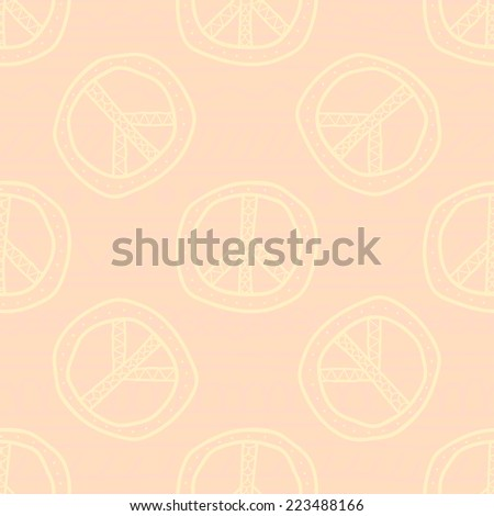 Seamless pattern with peace signs - stock vector