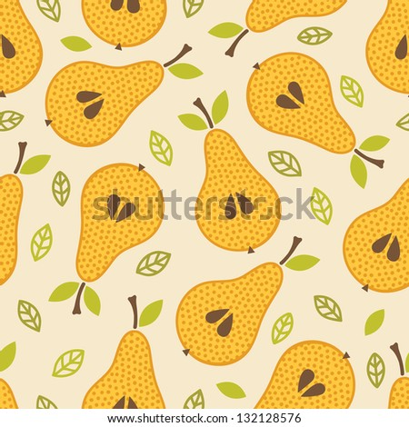 Seamless pattern with pears - stock vector