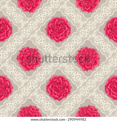 Seamless pattern with peony and lace. Vintage - stock vector