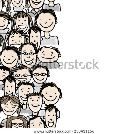 Seamless pattern with people crowd for your design, vector illustration
