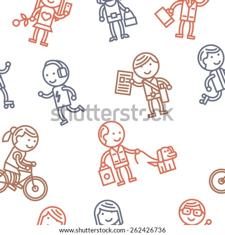 Seamless pattern with people. Vector illustration. - stock vector