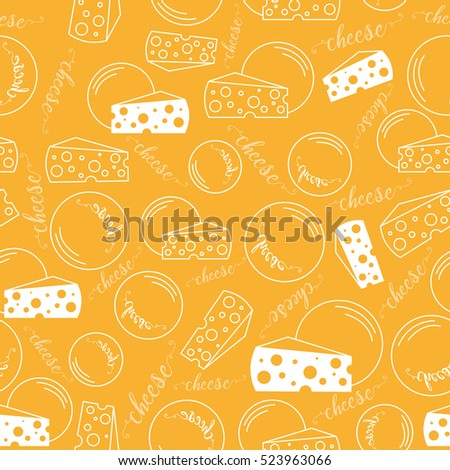 Seamless pattern with Pieces and rounds of cheese lines on a yellow background.