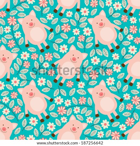 Seamless pattern with piglets. - stock vector