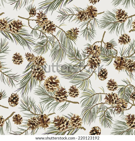 Seamless pattern with pine cones. Realistic look. Vintage background for fabric, scrapbook, poster, greeting cards. Vector illustration. - stock vector