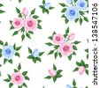 Seamless pattern with pink and blue roses. Vector illustration. - stock vector