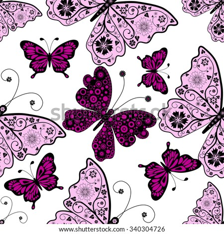 Seamless pattern with pink and purple butterflies, vector eps 10 - stock vector