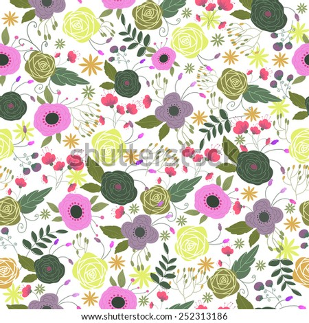 Seamless pattern with pink and purple flowers - stock vector