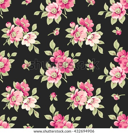 Seamless pattern with pink flowers. Vintage floral background - stock vector
