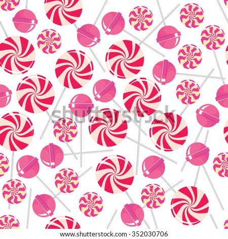 Seamless pattern with pink lollipops. Pink tasty candies isolated on white background. Delicious sweet treat. Confectionery bonbon. Decorative paper. Caramel dessert. Vector design illustration - stock vector