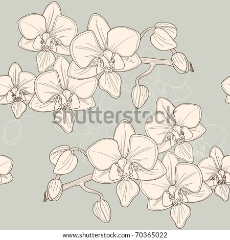 Seamless pattern with pink orchid, vector - stock vector