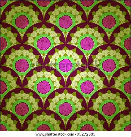 Seamless pattern with pink roses. - stock vector