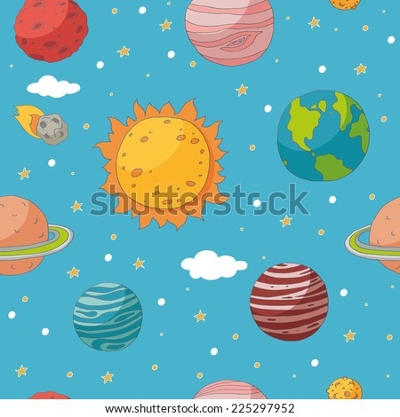 Seamless pattern with planets and the sun. EPS 10. Transparency. No gradients. - stock vector