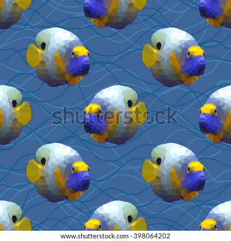 Seamless pattern with polygonal angelfishes. Triangle low polygon style. Endless backdrop with colorful blue and yellow angel fishes on deep blue sea background with waves. - stock vector