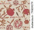 seamless pattern with pomegranate - stock vector
