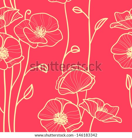 seamless pattern with poppies - stock vector