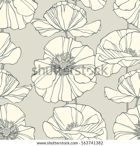 Seamless pattern with poppies. Neutral floral background. Vector illustration - stock vector