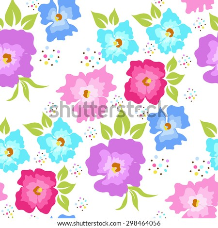 Seamless pattern with poppies on a white background - stock vector