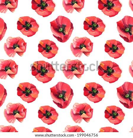 Seamless pattern with poppies. Vector pattern - stock vector