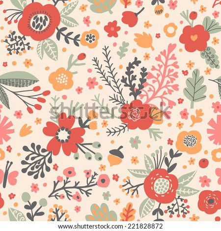 Seamless pattern with poppy flowers and acorns in bright colors - stock vector