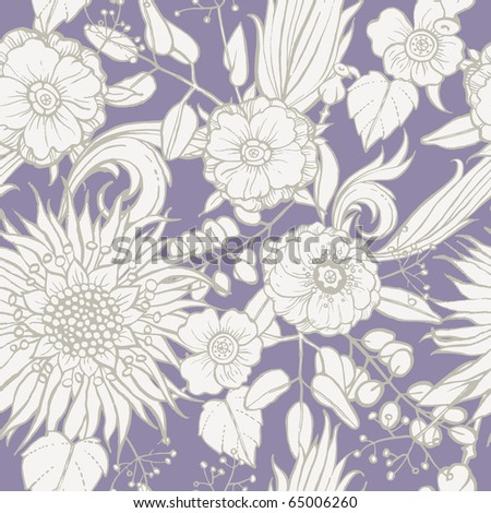Seamless pattern with poppy seeds and sunflower - stock vector