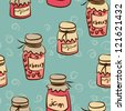 seamless pattern with pots of the jam - stock vector