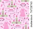 Seamless pattern with princess accessories - stock photo