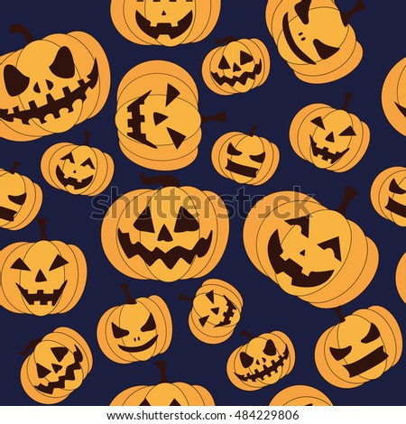 Seamless pattern with pumpkin on black background for halloween