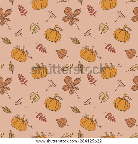 Seamless pattern with pumpkins and leaves - stock vector