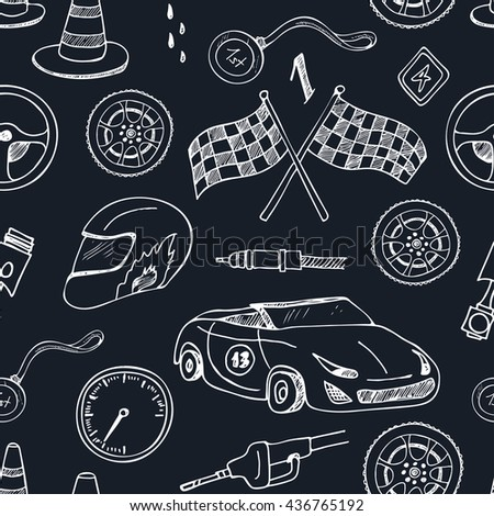 Seamless pattern with Racing auto items sketch icons hand drawn vector set with racing flags first place prize cup medal sport car isolated vector illustratio - stock vector
