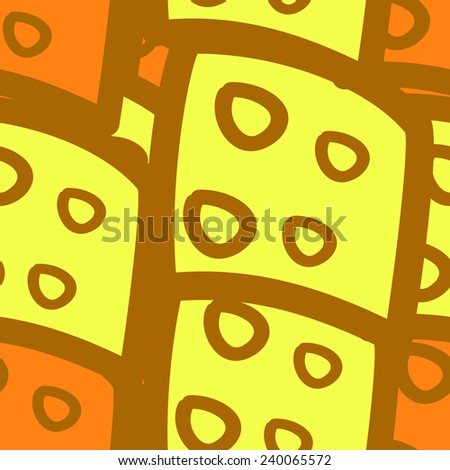 seamless pattern with rectangular and circular elements yellow - stock vector