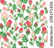 seamless pattern with red and pink rose on white background - stock photo