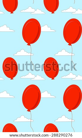 Seamless pattern with red balls and clouds - stock vector