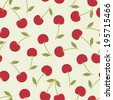 Seamless pattern with red cherries .Vector illustration. - stock vector