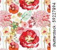 seamless pattern with red flowers - stock photo