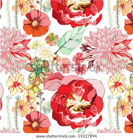seamless pattern with red flowers - stock vector