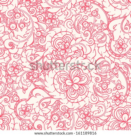 Seamless pattern with red flowers and berries on beige background. vector illustration