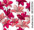 Seamless pattern with red lilies on white - stock vector