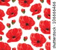 Seamless pattern with red poppies - stock photo