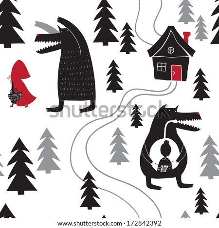 Seamless pattern with Red Riding Hood and wolf walking in the woods. Wolf swallowed grandmother. Red Riding Hood fairy tale. - stock vector