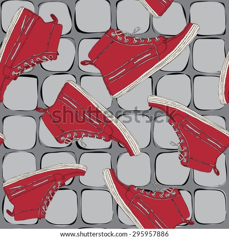Seamless pattern with red shoes, sports shoes on a gray background with the texture of floor tiles. - stock vector
