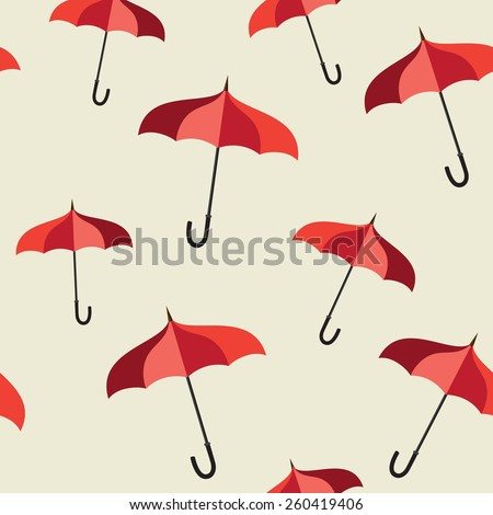 Seamless pattern with red umbrellas  - stock vector