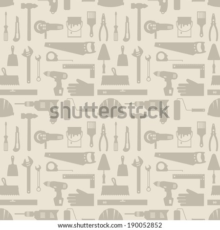 Seamless pattern with repair working tools icons. - stock vector