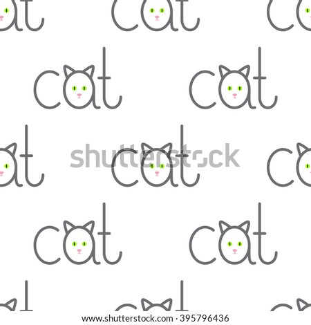 Seamless pattern with repeating cat lettering with lettering a in the shape of cat isolated on white background - stock vector