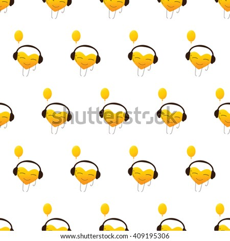 Seamless pattern with repeating golden colored cartoon heart character in headphones with balloon in one hand isolated on white background - stock vector