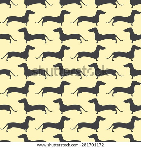 Seamless pattern with repeating lines of grey colored silhouette of standing dachshund situated opposite one another isolated on light yellow background - stock vector